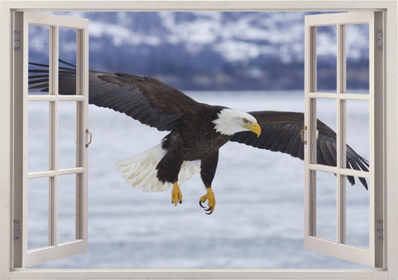 BALD EAGLE ARTWORK ANIMALS Decal Removable WALL STICKER Home Decor Choose Size