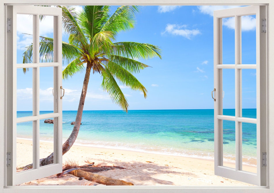 Palm Tree Beach Wall Decal 3d Window Tropical Beach Decal Etsy