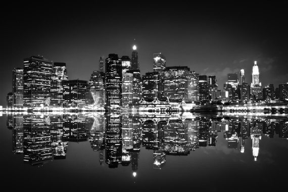 New York Skyline At Night Wall Decal Black And White Photo New York Wall Decal Ny Bw For Room Decor Colorful City Buildings Poster 239