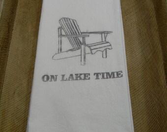 Flour Sack Tea Towels-On Lake Time