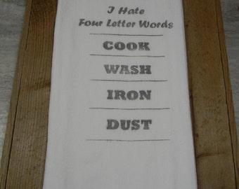 Four Letter Words -Flour Sack Tea Towels