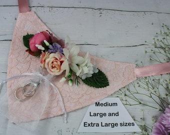 Dog Ring Bearer Flower Bandana Pink Lace with Pink Flowers GRACE Sizes Medium  Large and Extra Large