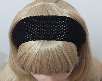 Black lattice headband, black head wrap, hand crochet black elastic hair band, girls headband, adult headband