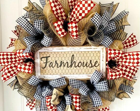 Farmhouse Wreath, Farmhouse Burlap Wreath, Rustic Farmhouse Wreath, Red Black Plaid Wreath, Country Mesh Wreath, Farm Wreath