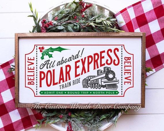 "24"" x 12"" Polar Express Christmas Sign, Polar Express Christmas Ticket, Wood Polar Express Sign, Polar Express Holiday Sign"