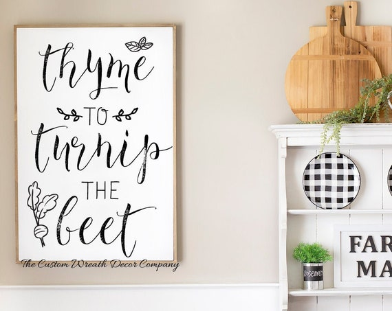 Funny Kitchen Sign, Time To Turnip The Beet Kitchen Sign, Funny Vegetable Kitchen Sign