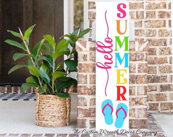 Hello Summer Porch Sign, Summer Porch Sign, Summer Porch Decor, Flip Flop Porch Sign