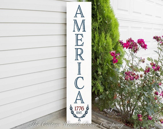 Patriotic Porch Sign, America 1776 Porch Sign, Welcome Sign, Porch Sign