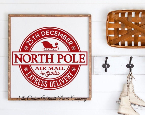 "15"" x 15"" North Pole Christmas Sign, Rustic North Pole Christmas Sign, Wood Farmhouse Holiday Sign"