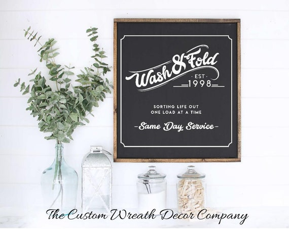 Wash and Fold Laundry Sign, Rustic Laundry Sign, Laundry Sign