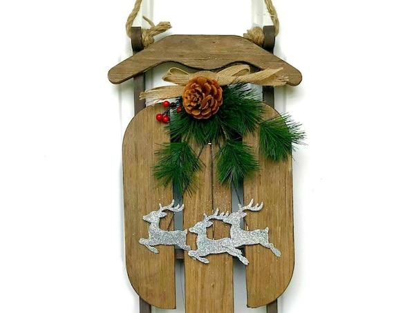 """16"""" Holiday Sled Door Hanger 57036, Reindeer Sled Door Hanger, Rustic Sled Decor, Holiday Sleigh Decor"""