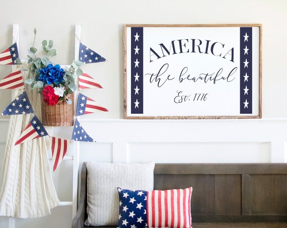 America The Beautiful Rustic Sign, Independence Day Patriotic Sign, Patriotic Wall Sign, Patriotic Wood Sign