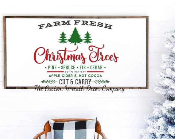 """36""""x 16"""" Farm Fresh Christmas Tree Sign, Rustic Farm Fresh Christmas Tree Sign, Rustic Christmas Decor, Rustic Christmas Signs"""