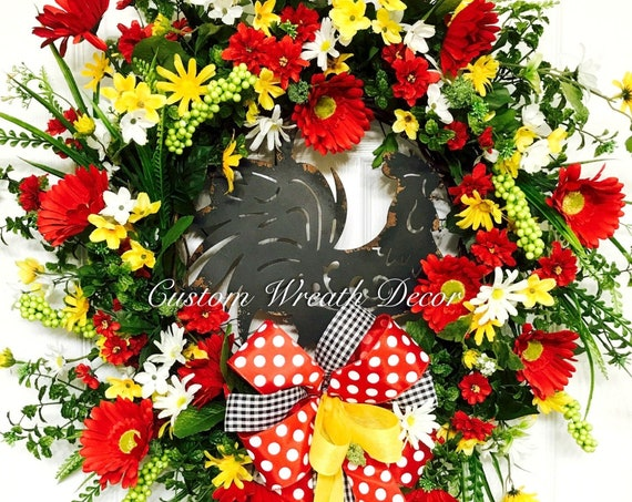 Rooster Grapevine Wreath, Farmhouse Wreath, Southern Floral Wreath, Red Yellow White Grapevine Floral Wreath