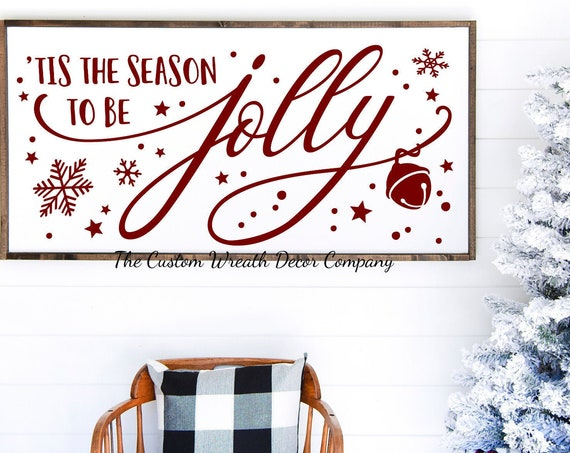"36"" x 16"" Tis The Season To Be Jolly Holiday Sign, Tis The Season To Be Jolly Farmhouse Christmas Sign, Rustic Christmas Sign"