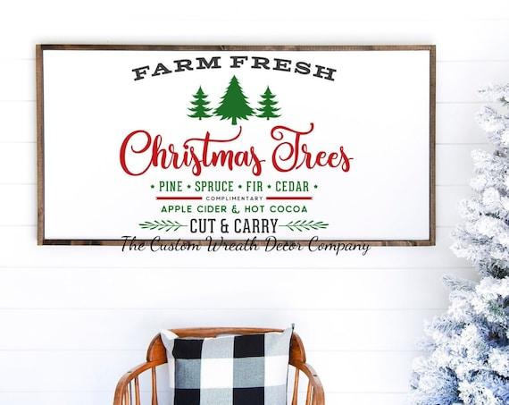 """24"""" x 12"""" Farm Fresh Christmas Tree Sign, Rustic Farm Fresh Christmas Tree Sign, Rustic Christmas Decor, Rustic Christmas Signs"""