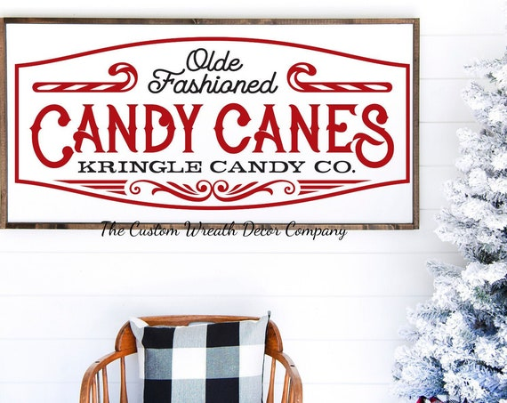 "24""x 12"" Olde Fashioned Candy Cane Rustic Sign, Rustic Candy Cane Sign, Christmas Sign, Rustic Holiday Sign, Farmhouse Christmas Sign"