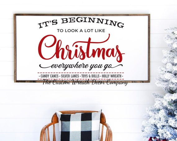 "24""x 12"" It's Beginning To Look A Lot Like Christmas Sign, It's Beginning To Look A Lot Like Christmas Farmhouse Sign, Rustic Holiday Sign"