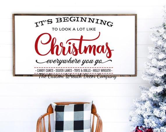"36""x16"" It's Beginning To Look A Lot Like Christmas Sign, It's Beginning To Look A Lot Like Christmas Farmhouse Sign, Rustic Holiday Sign"