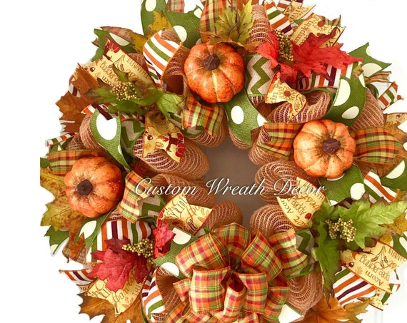 Fall Wreath, Fall Mesh Wreath, Fall Pumpkin Wreath, Fall Leaves Wreath