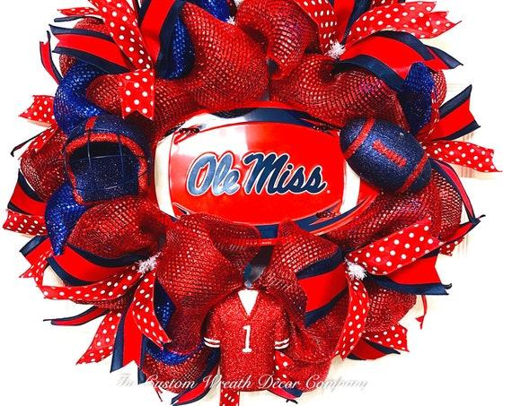 Ole' Miss Football Wreath, Rebels Wreath, College Wreath, Deco Mesh Wreath