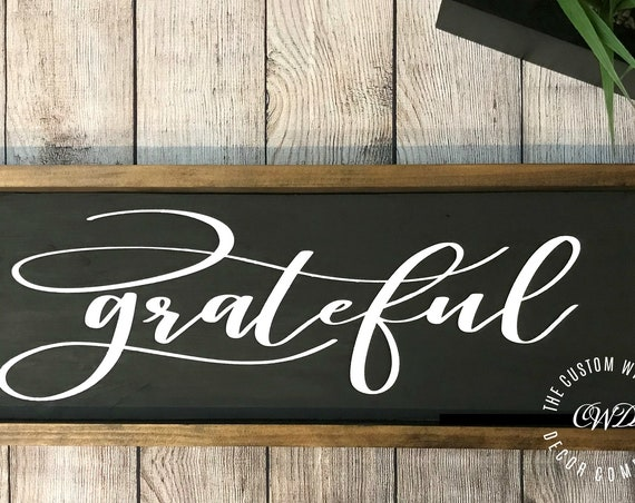 Grateful Wood Decor Sign, Grateful Wall Hanging, Wooden Home Decor, Rustic Grateful Sign, Painted Farmhouse Sign, Fixer Upper Grateful Sign