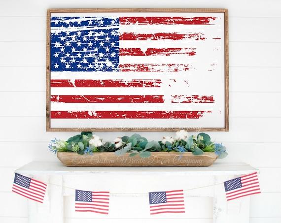 Distressed Patriotic Flag Sign, Distressed USA Flag Sign, Rustic Flag Sign, Red White Blue Flag Sign, USA Wood Flag Sign