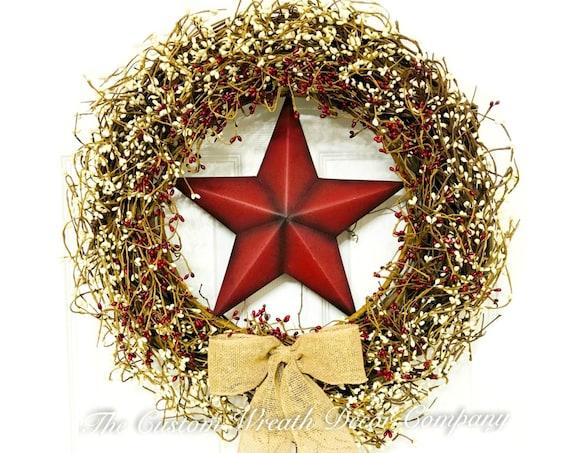 Burgundy Cream Pip Berry Grapevine Wreath, Autumn Pip Berry Wreath, Rustic Star Pip Berry Wreath, Pipberry Grapevine Wreath
