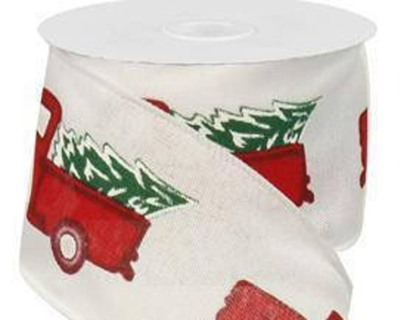 """2.5"""" White Vintage Truck With Tree Ribbon RG0156427, 2.5"""" Vintage Truck Ribbon RG0156427, 2.5"""" Red Truck Ribbon"""