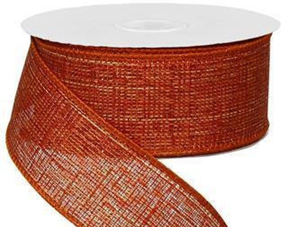 "1.5"" Metallic Orange Copper Ribbon RG0101252, Copper Metallic Ribbon RG0101252, Cross Royal Metallic Cooper Ribbon"