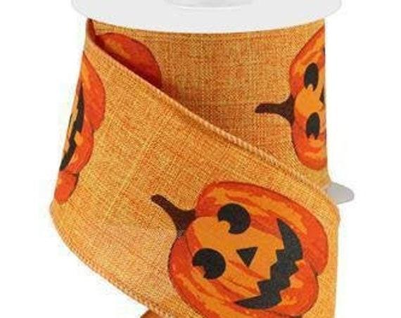 2.5 Orange Jack O Lantern Ribbon RG017315T, Halloween Pumpkin Ribbon