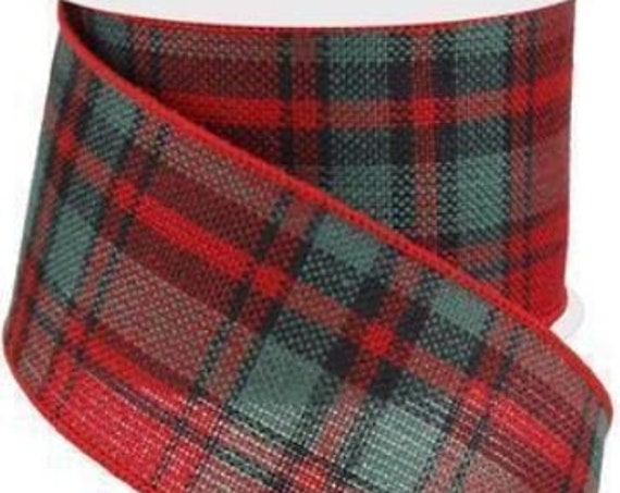 "2.5"" Woven Plaid Red Emerald Green Black Ribbon, Red Black Ribbon, Moose Ribbon, Wired Christmas Ribbon"