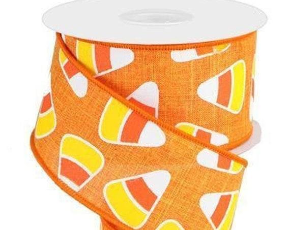 "2.5"" Candy Corn Ribbon RG0171720 (10 yards), Orange Yellow Candy Corn Ribbon, Candy Corn Halloween Ribbon"