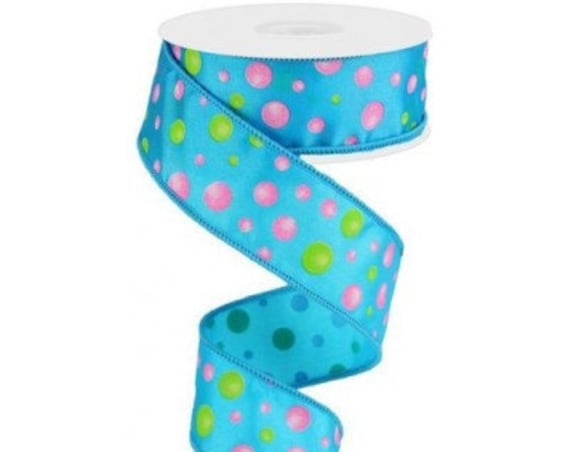 "1.5"" Turquoise Pink Green Multi Dot Ribbon RG01878A2, Turquoise Pink Green Polka Dot Ribbon RG01878A2"