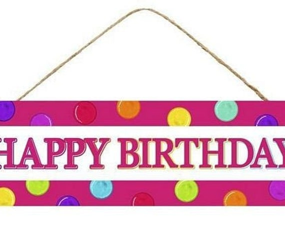 "12"" x 6"" Happy Birthday MDF Sign AP8014"