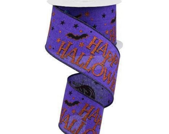 """2.5"""" Purple Happy Halloween Glitter Ribbon, Purple Orange Happy Halloween Ribbon RGA11796A, Halloween Bat Ribbon, Halloween Spooky Ribbon"""