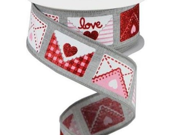 Grey White Red Pink Love Letter Ribbon RGA159610, Valentine Ribbon