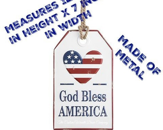 God Bless America Tag, God Bless America Metal Tag 30071125, Red White Blue God Bless America Sign, Patriotic Sign