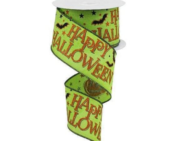 "2.5"" Halloween Ribbon, Lime Orange Happy Halloween On Royal Ribbon RGA1179E9, Happy Halloween Bat Ribbon"