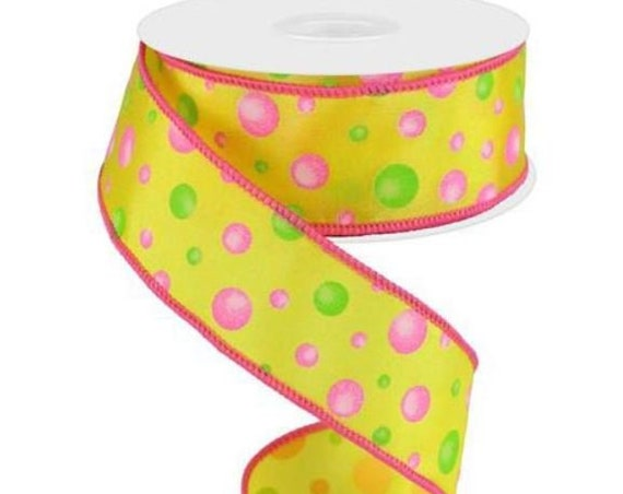 "1.5"" Yellow Pink Green Multi Dot Ribbon RG0187529, Yellow Pink Green Polka Dot Ribbon RG0187529"