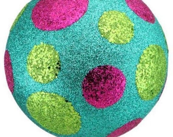 100MM Glitter Turquoise Fuchsia Polka Dot Ornament XY8917M8, Turquoise Fuchsia All Glitter Polka Dot Ball Ornament, Turquoise Ornament