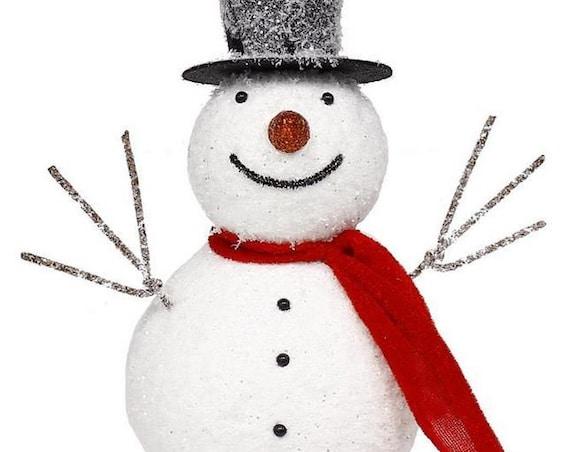 "8.5"" Snowman With Hanger XY7787, Glitter Snowman, White Red Black Glitter Snowman, Foam Snowman"