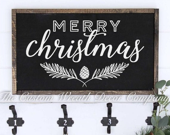 "24""x12"" Merry Christmas Sign, Black White Holiday Sign, White Christmas Rustic Sign"