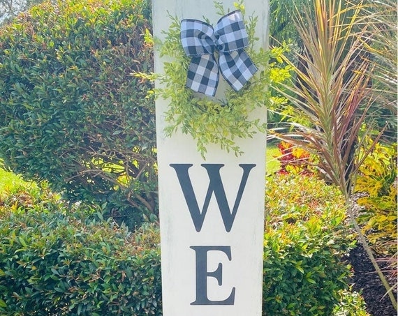 Distressed Welcome Porch Sign, Welcome Porch Sign With Wreath