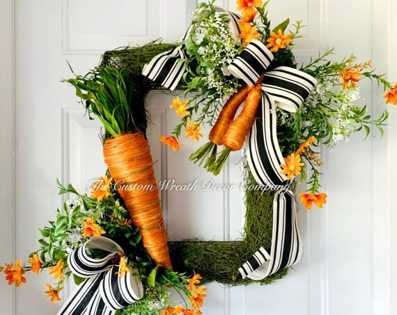 Easter Wreath, Moss Easter Wreath, Carrot Wreath, Moss Easter Carrot Wreath, Square Easter Wreath, Moss Wreath