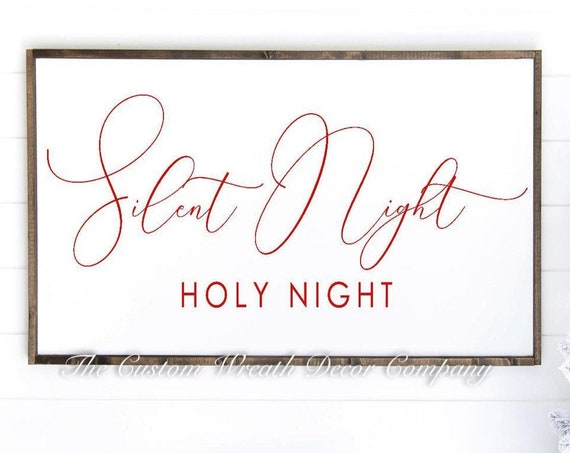 "24""x12"" Silent Night Christmas Sign, Silent Night Holy Night, Christmas Sign, Red White Holiday Sign, Rustic Christmas Sign"