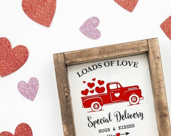 RED Truck Valentines Sign, Loads Of Love Valentine Sign, Valentine Farmhouse Sign, Shelf Sitter Valentine Sign