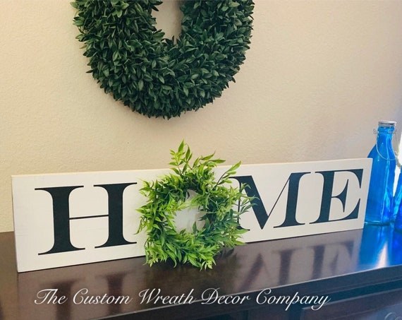 Home Sign, Rustic Home Sign, Farmhouse Home Sign, Wreath Home Sign