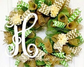 26 quot Year Around Monogram Wreath-Vine Wreath- Summer Vine Wreath