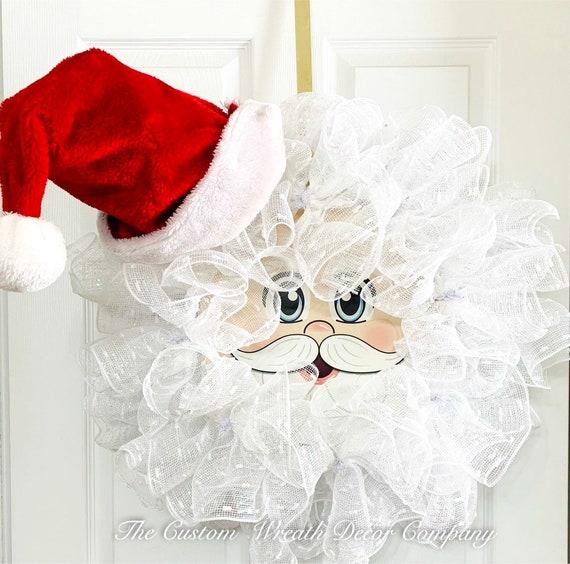 Santa Wreath, Santa Claus Wreath, Santa Hat Wreath